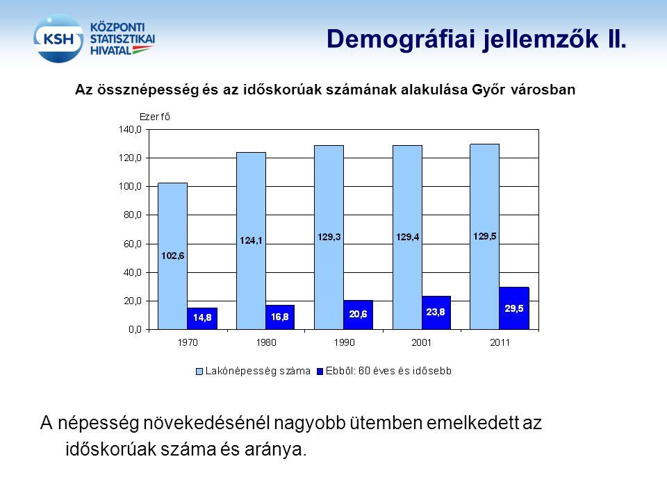 Demográfiai jellemzők II. Az össznépesség és az időskorúak számának alakulása Győr városban A népesség növekedésénél nagyobb ütemben emelkedett az idő
