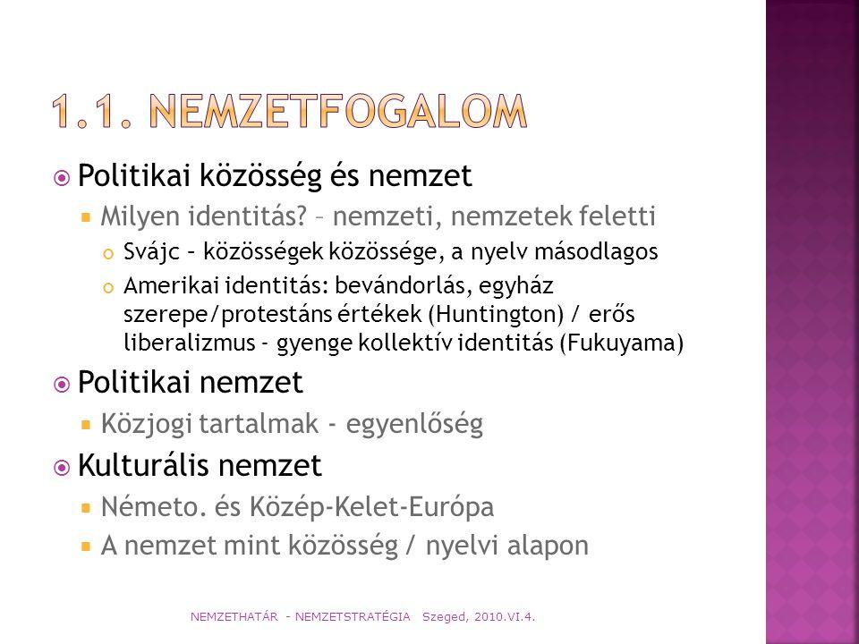  Európa Tanács 1201(1993) számú ajánlása  az adott állam területén rendelkezik LAKÓHELLYEL  szilárd és tartós KAPCSOLATOKAT tart fenn ezzel az állammal  KÜLÖNÁLLÓ etnikai, kulturális, vallási vagy nyelvi jellegzetességeket mutat  kellőképpen reprezentatív, noha számban KISEBB, mint az adott állam, vagy az adott állam régiója lakosságának többi része  arra törekszik, hogy együttesen MEGŐRIZZE azt, ami közös identitásukat képezi, beleértve kultúrájukat, hagyományukat, vallásukat vagy nyelvüket; NEMZETHATÁR - NEMZETSTRATÉGIA Szeged, 2010.VI.4.
