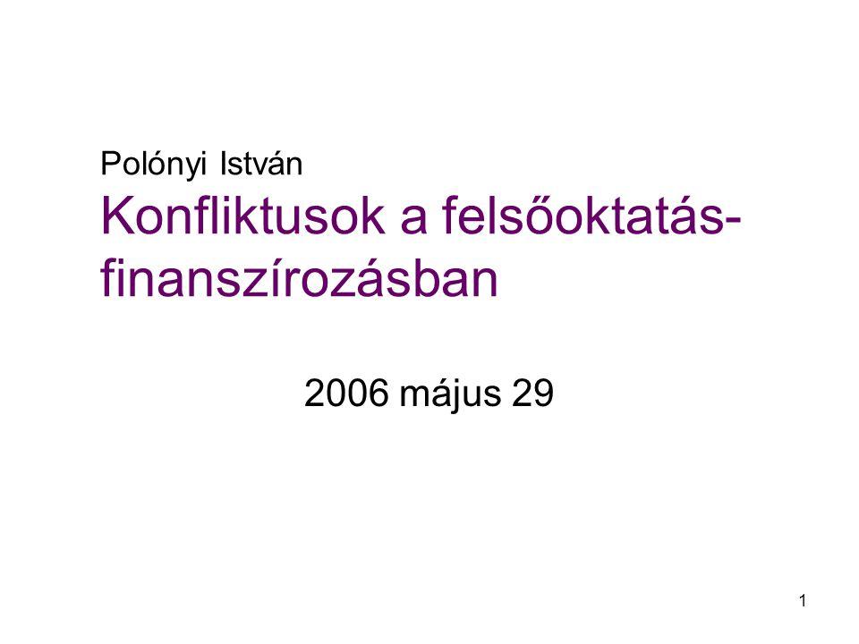 1 Polónyi István Konfliktusok a felsőoktatás- finanszírozásban 2006 május 29