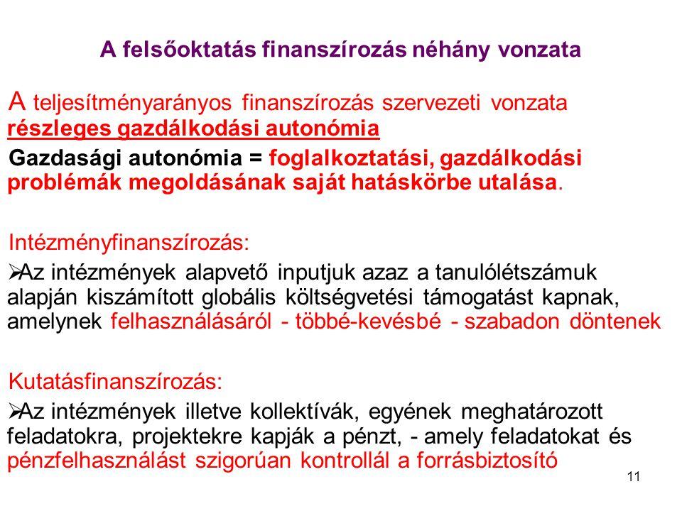 11 A felsőoktatás finanszírozás néhány vonzata A teljesítményarányos finanszírozás szervezeti vonzata részleges gazdálkodási autonómia Gazdasági autonómia = foglalkoztatási, gazdálkodási problémák megoldásának saját hatáskörbe utalása.