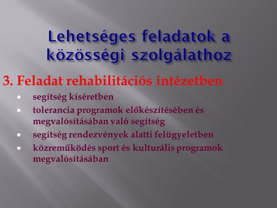 3. Feladat rehabilitációs intézetben  segítség kíséretben  tolerancia programok előkészítésében és megvalósításában való segítség  segítség rendezv