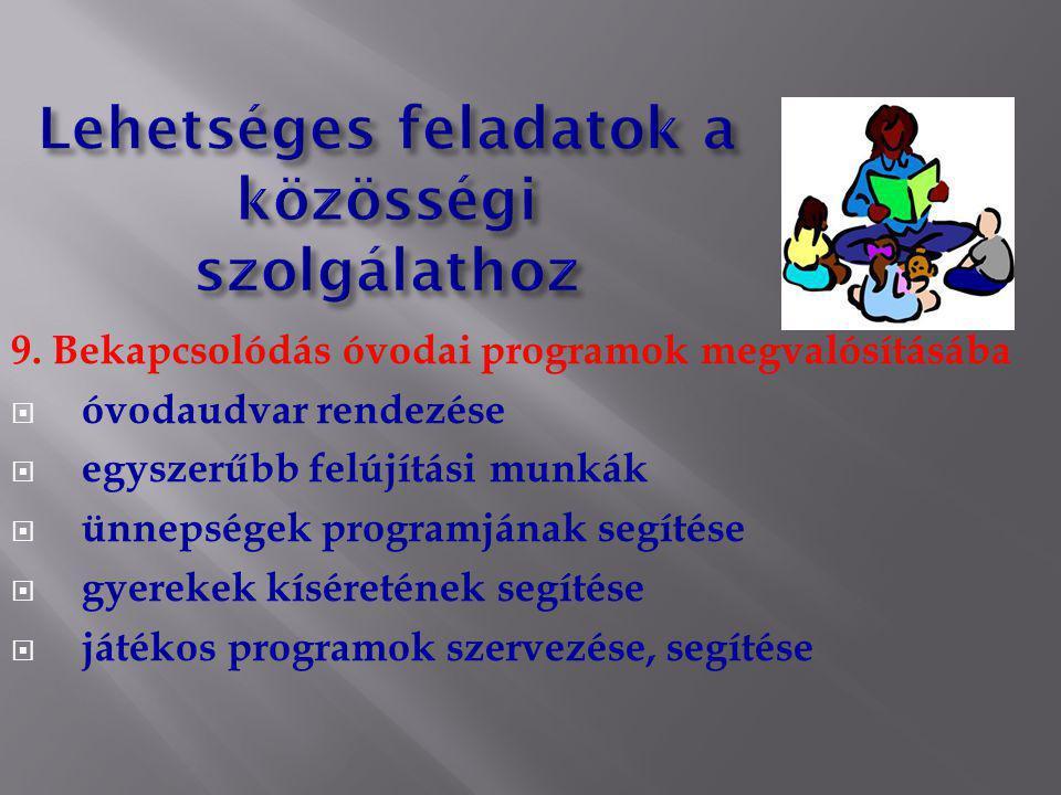 9. Bekapcsolódás óvodai programok megvalósításába  óvodaudvar rendezése  egyszerűbb felújítási munkák  ünnepségek programjának segítése  gyerekek