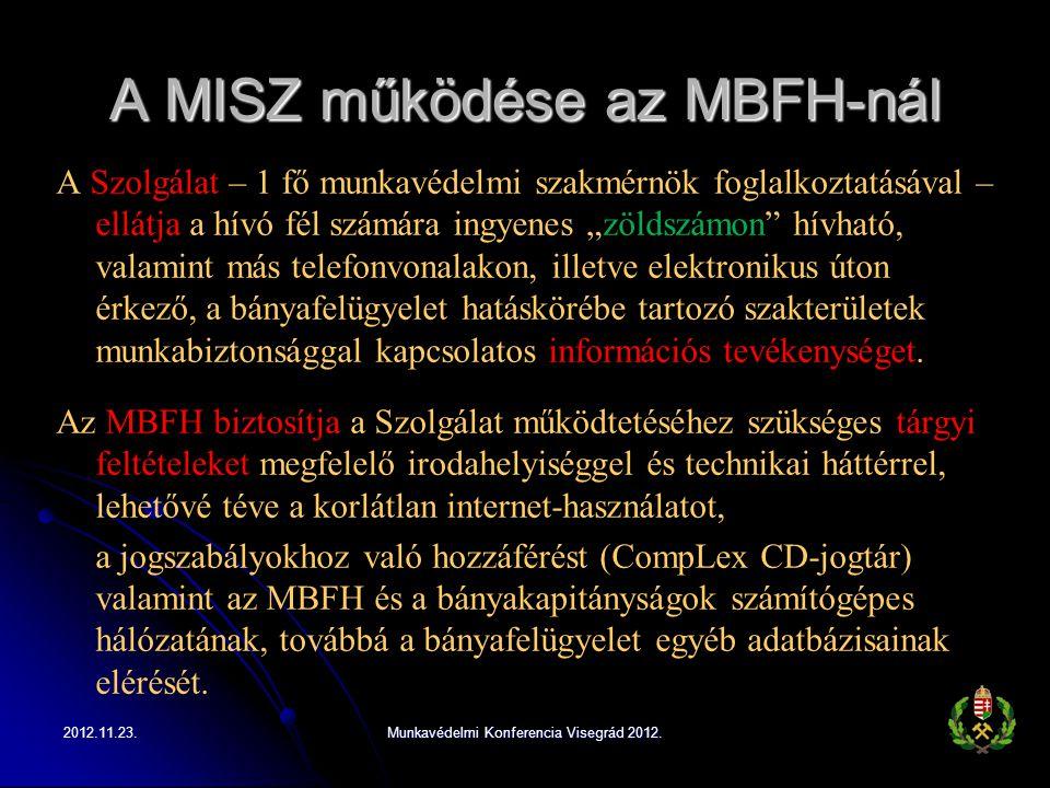 """A MISZ működése az MBFH-nál A Szolgálat – 1 fő munkavédelmi szakmérnök foglalkoztatásával – ellátja a hívó fél számára ingyenes """"zöldszámon"""" hívható,"""