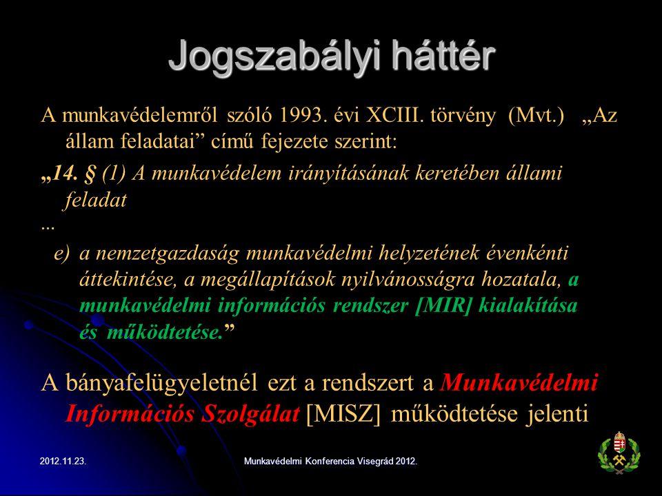 """Jogszabályi háttér A munkavédelemről szóló 1993. évi XCIII. törvény (Mvt.) """"Az állam feladatai"""" című fejezete szerint: """"14. § (1) A munkavédelem irány"""