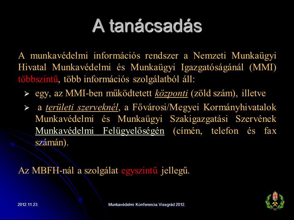 A tanácsadás A munkavédelmi információs rendszer a Nemzeti Munkaügyi Hivatal Munkavédelmi és Munkaügyi Igazgatóságánál (MMI) többszintű, több informác