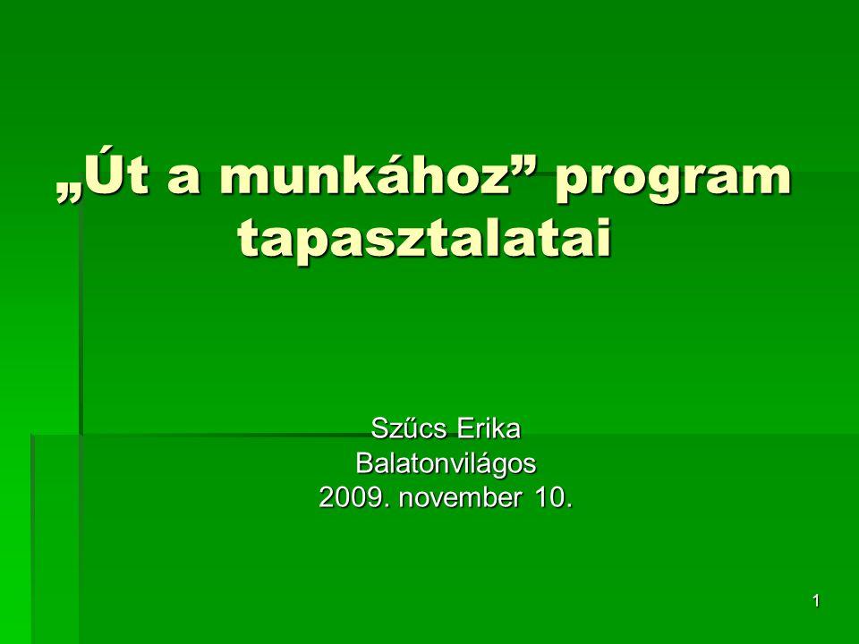 """1 """"Út a munkához program tapasztalatai Szűcs Erika Balatonvilágos 2009. november 10."""