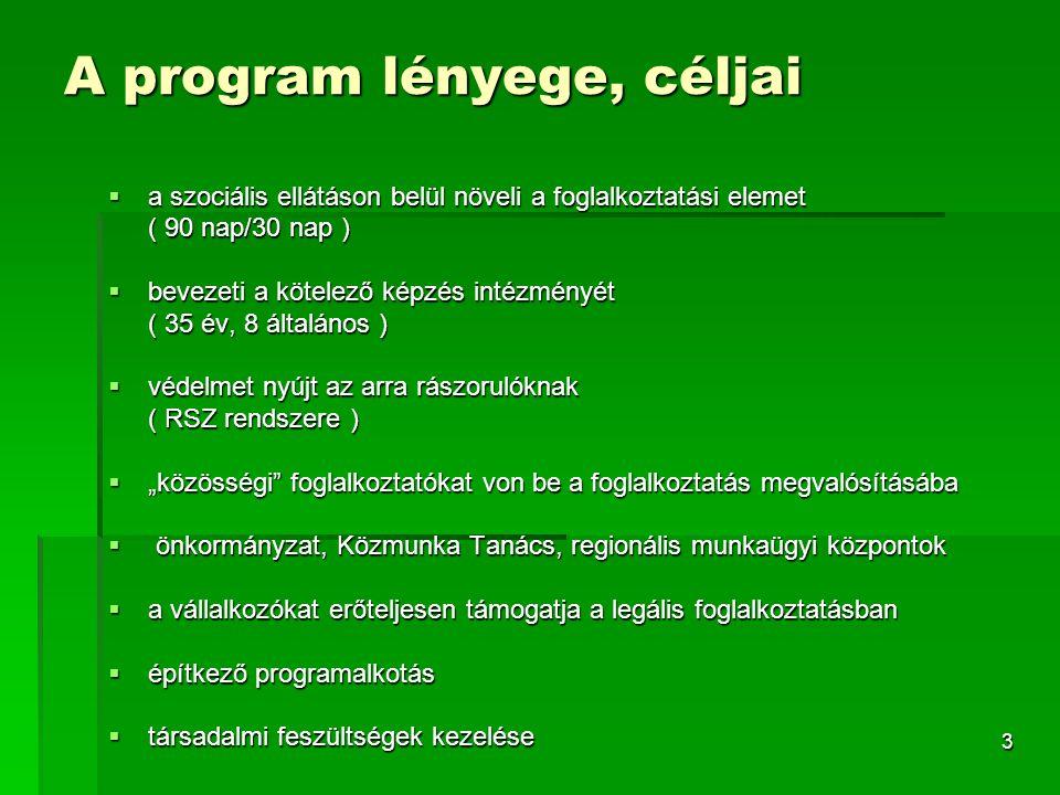 """3 A program lényege, céljai  a szociális ellátáson belül növeli a foglalkoztatási elemet ( 90 nap/30 nap )  bevezeti a kötelező képzés intézményét ( 35 év, 8 általános )  védelmet nyújt az arra rászorulóknak ( RSZ rendszere )  """"közösségi foglalkoztatókat von be a foglalkoztatás megvalósításába  önkormányzat, Közmunka Tanács, regionális munkaügyi központok  a vállalkozókat erőteljesen támogatja a legális foglalkoztatásban  építkező programalkotás  társadalmi feszültségek kezelése"""
