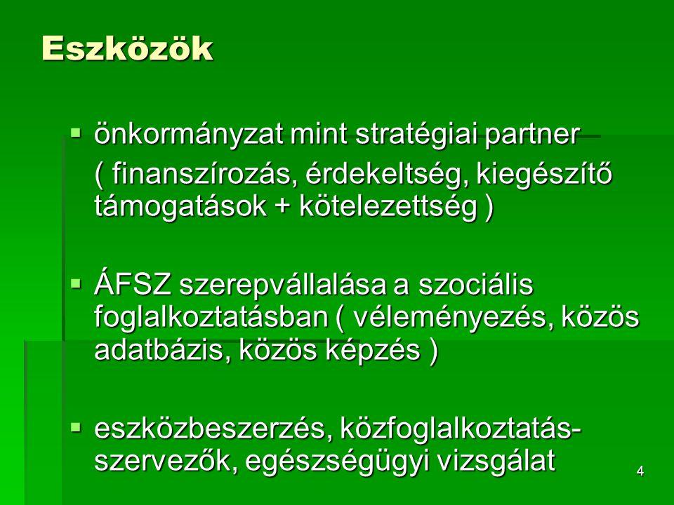 4 Eszközök  önkormányzat mint stratégiai partner ( finanszírozás, érdekeltség, kiegészítő támogatások + kötelezettség )  ÁFSZ szerepvállalása a szociális foglalkoztatásban ( véleményezés, közös adatbázis, közös képzés )  eszközbeszerzés, közfoglalkoztatás- szervezők, egészségügyi vizsgálat