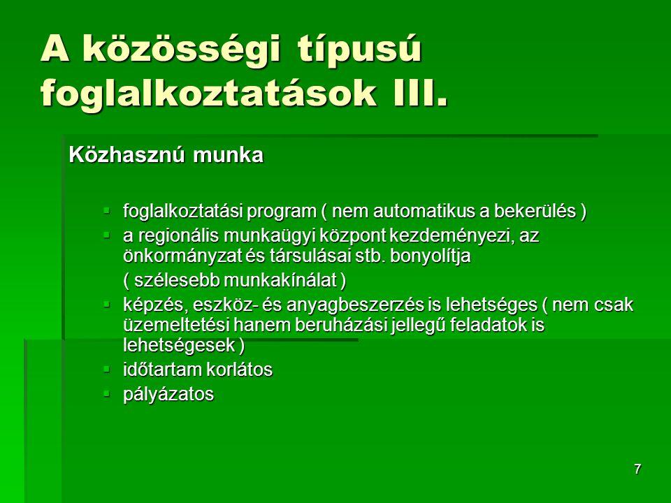 7 A közösségi típusú foglalkoztatások III.