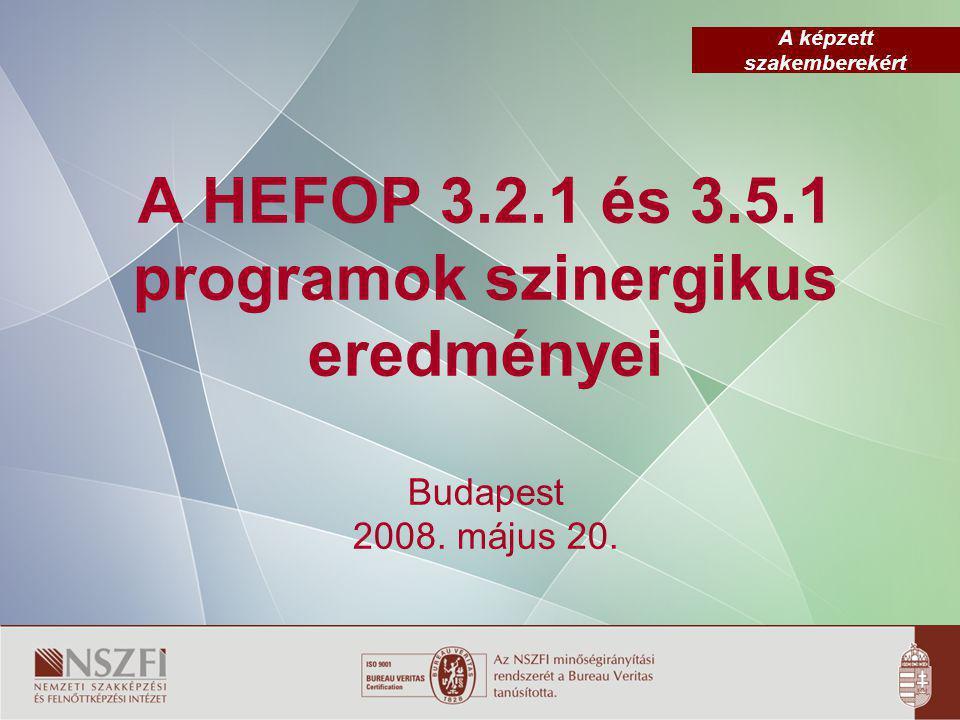 A képzett szakemberekért A HEFOP 3.2.1 és 3.5.1 programok szinergikus eredményei Budapest 2008.