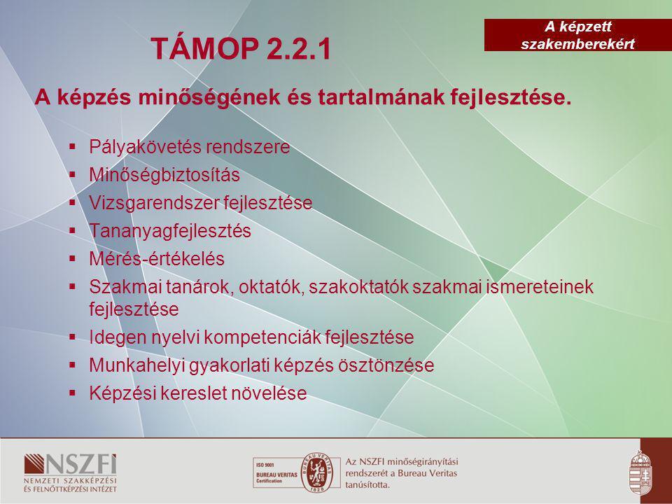 A képzett szakemberekért TÁMOP 2.2.1 A képzés minőségének és tartalmának fejlesztése.