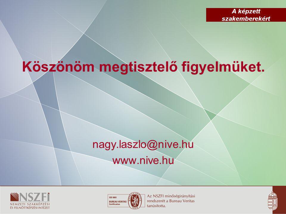 A képzett szakemberekért Köszönöm megtisztelő figyelmüket. nagy.laszlo@nive.hu www.nive.hu