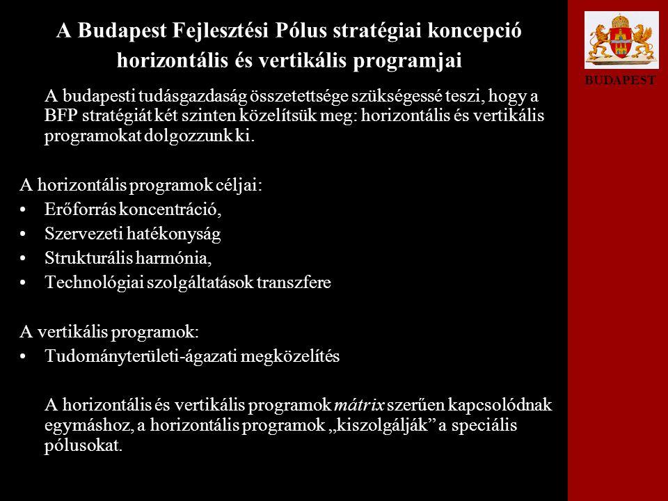 BUDAPEST A Budapest Fejlesztési Pólus stratégiai koncepció horizontális és vertikális programjai A budapesti tudásgazdaság összetettsége szükségessé teszi, hogy a BFP stratégiát két szinten közelítsük meg: horizontális és vertikális programokat dolgozzunk ki.