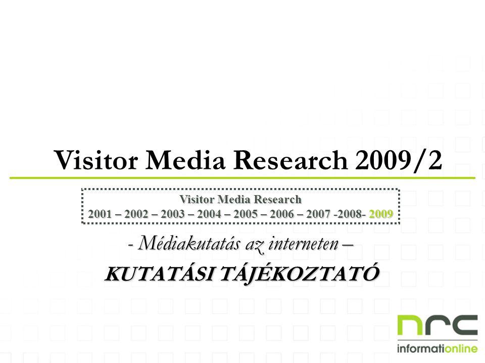 Visitor Media Research 2009/2 Visitor Media Research 2001 – 2002 – 2003 – 2004 – 2005 – 2006 – 2007 -2008- 2009 - Médiakutatás az interneten – KUTATÁSI TÁJÉKOZTATÓ