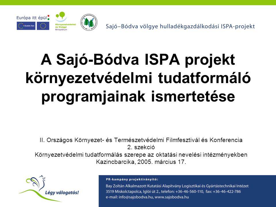 A Sajó-Bódva ISPA projekt környezetvédelmi tudatformáló programjainak ismertetése II. Országos Környezet- és Természetvédelmi Filmfesztivál és Konfere