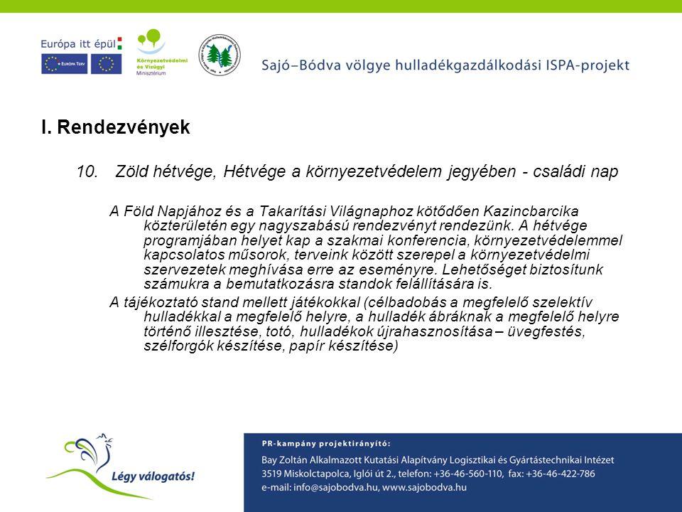 A Sajó-Bódva ISPA projekt környezetvédelmi tudatformáló programjainak ismertetése I. Rendezvények 10.Zöld hétvége, Hétvége a környezetvédelem jegyében