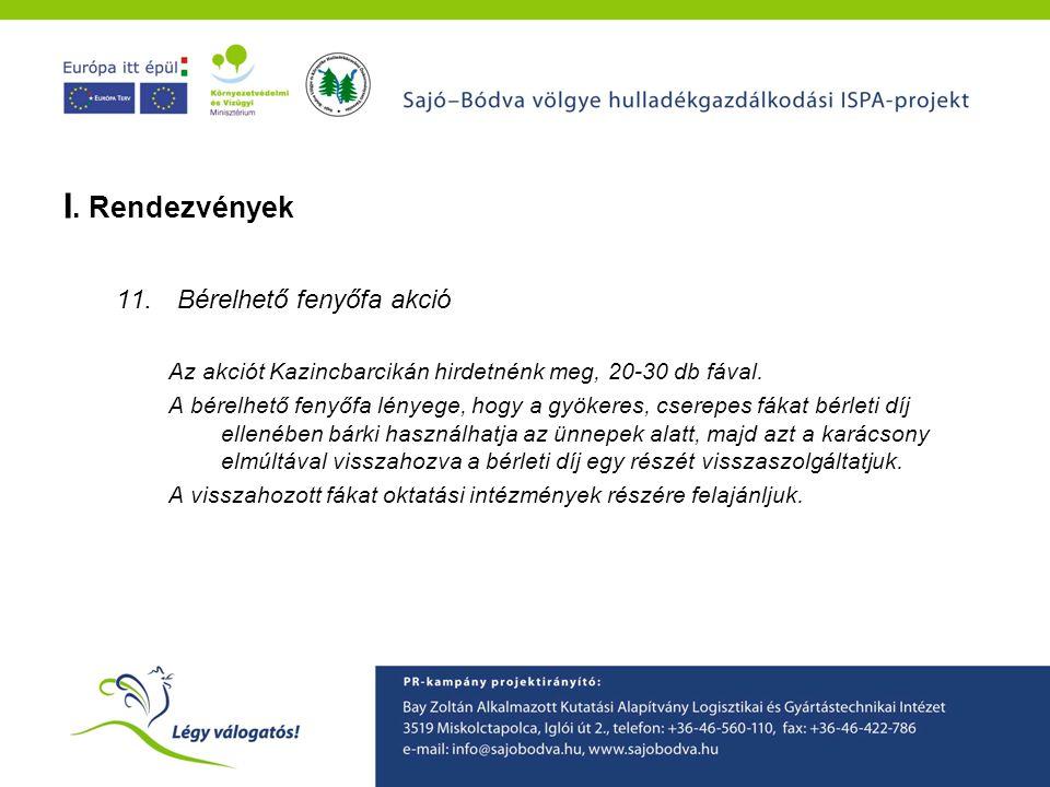 A Sajó-Bódva ISPA projekt környezetvédelmi tudatformáló programjainak ismertetése I. Rendezvények 11.Bérelhető fenyőfa akció Az akciót Kazincbarcikán