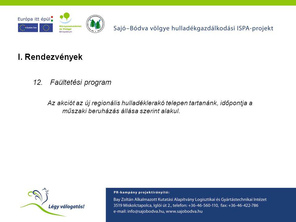 A Sajó-Bódva ISPA projekt környezetvédelmi tudatformáló programjainak ismertetése I. Rendezvények 12.Faültetési program Az akciót az új regionális hul
