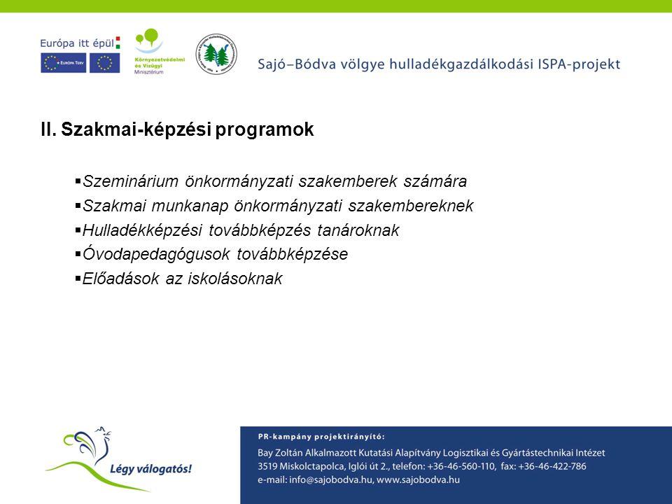 A Sajó-Bódva ISPA projekt környezetvédelmi tudatformáló programjainak ismertetése II. Szakmai-képzési programok  Szeminárium önkormányzati szakembere