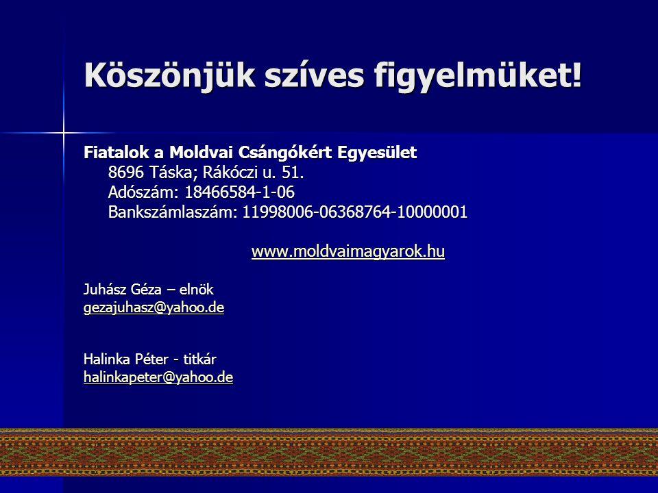 Köszönjük szíves figyelmüket! Fiatalok a Moldvai Csángókért Egyesület 8696 Táska; Rákóczi u. 51. Adószám: 18466584-1-06 Bankszámlaszám: 11998006-06368