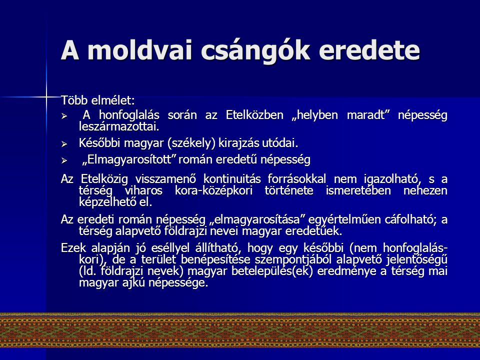 """A moldvai csángók eredete Több elmélet:  A honfoglalás során az Etelközben """"helyben maradt"""" népesség leszármazottai.  Későbbi magyar (székely) kiraj"""