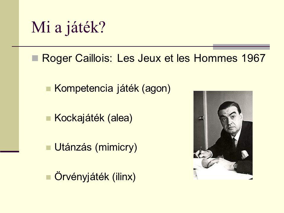 Mi a játék?  Roger Caillois: Les Jeux et les Hommes 1967  Kompetencia játék (agon)  Kockajáték (alea)  Utánzás (mimicry)  Örvényjáték (ilinx)