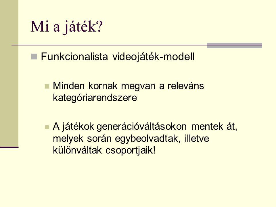 Mi a játék?  Funkcionalista videojáték-modell  Minden kornak megvan a releváns kategóriarendszere  A játékok generációváltásokon mentek át, melyek