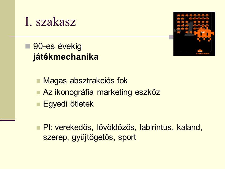 I. szakasz  90-es évekig játékmechanika  Magas absztrakciós fok  Az ikonográfia marketing eszköz  Egyedi ötletek  Pl: verekedős, lövöldözős, labi