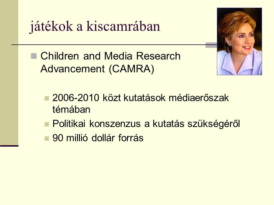 játékok a kiscamrában  Children and Media Research Advancement (CAMRA)  2006-2010 közt kutatások médiaerőszak témában  Politikai konszenzus a kutat