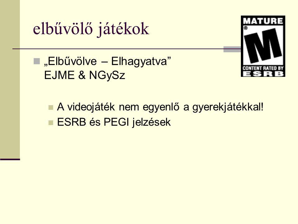 """elbűvölő játékok  """"Elbűvölve – Elhagyatva"""" EJME & NGySz  A videojáték nem egyenlő a gyerekjátékkal!  ESRB és PEGI jelzések"""