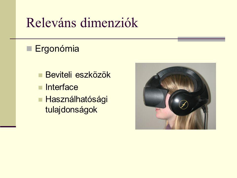 Releváns dimenziók  Ergonómia  Beviteli eszközök  Interface  Használhatósági tulajdonságok