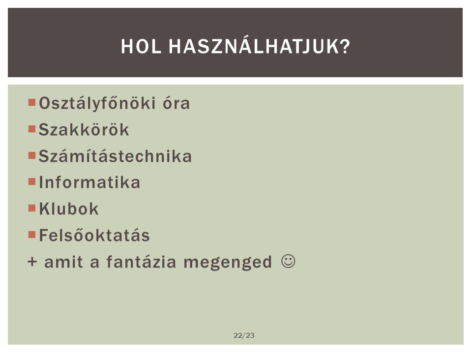  Osztályfőnöki óra  Szakkörök  Számítástechnika  Informatika  Klubok  Felsőoktatás + amit a fantázia megenged  HOL HASZNÁLHATJUK.