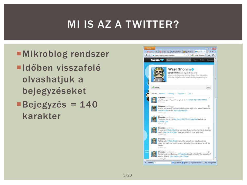  Mikroblog rendszer  Időben visszafelé olvashatjuk a bejegyzéseket  Bejegyzés = 140 karakter MI IS AZ A TWITTER.