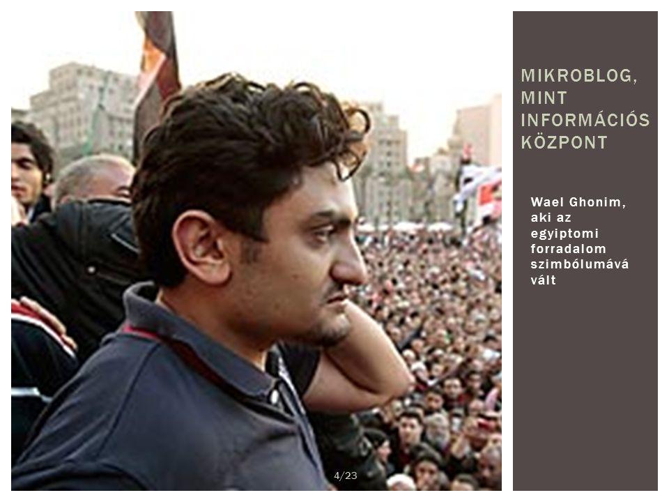 Wael Ghonim, aki az egyiptomi forradalom szimbólumává vált MIKROBLOG, MINT INFORMÁCIÓS KÖZPONT 4/23