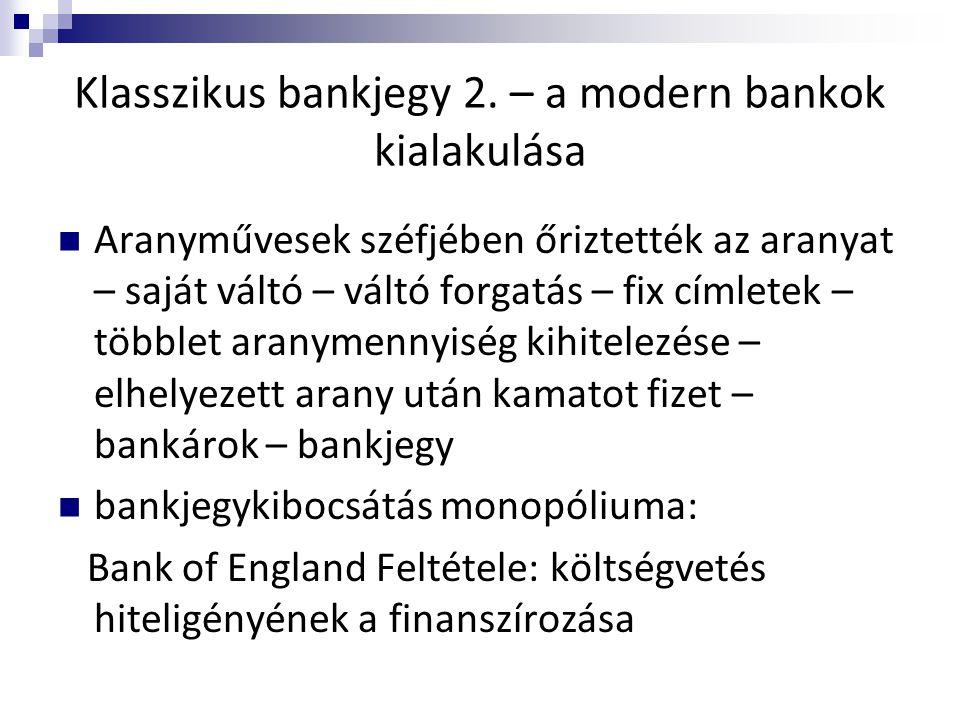 Klasszikus bankjegy 2. – a modern bankok kialakulása  Aranyművesek széfjében őriztették az aranyat – saját váltó – váltó forgatás – fix címletek – tö