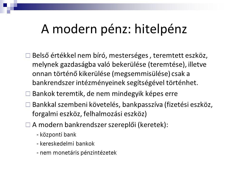 A modern pénz: hitelpénz  Belső értékkel nem bíró, mesterséges, teremtett eszköz, melynek gazdaságba való bekerülése (teremtése), illetve onnan törté