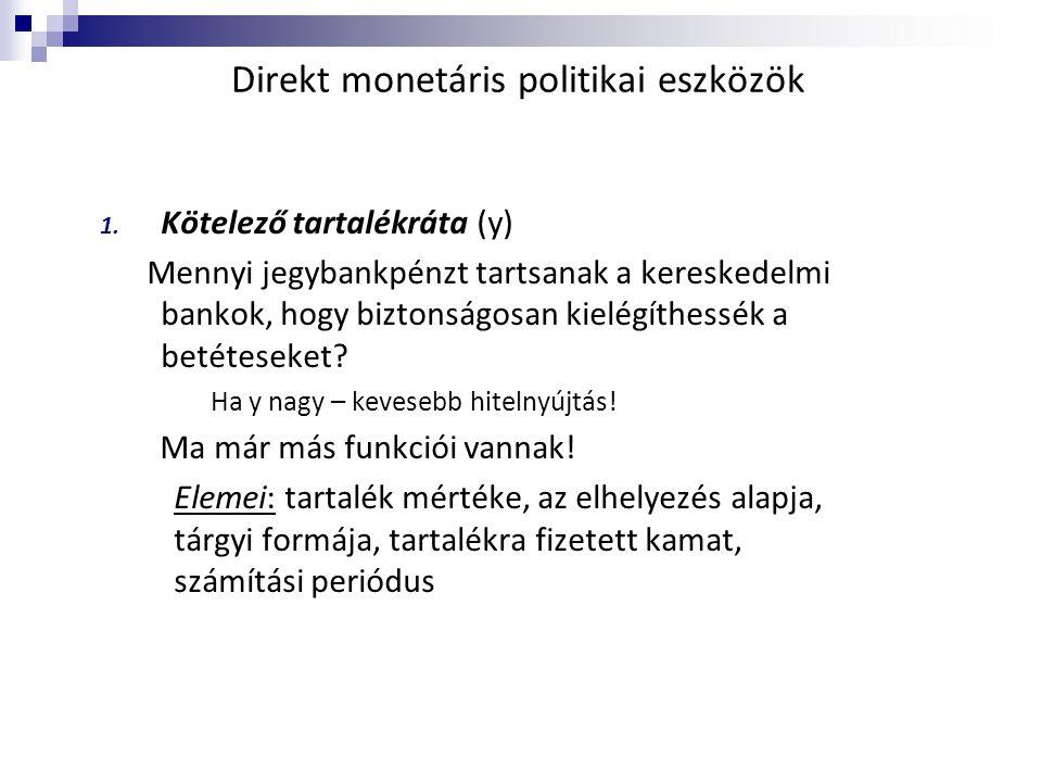 Direkt monetáris politikai eszközök 1. Kötelező tartalékráta (y) Mennyi jegybankpénzt tartsanak a kereskedelmi bankok, hogy biztonságosan kielégíthess
