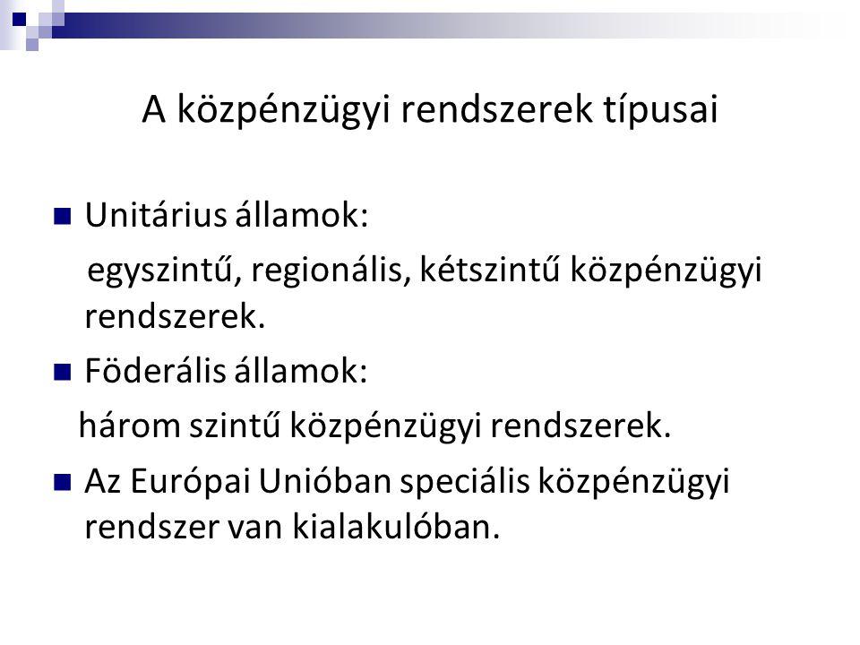 A közpénzügyi rendszerek típusai  Unitárius államok: egyszintű, regionális, kétszintű közpénzügyi rendszerek.  Föderális államok: három szintű közpé