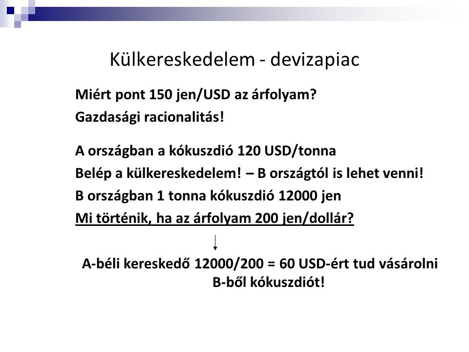 Külkereskedelem - devizapiac Miért pont 150 jen/USD az árfolyam? Gazdasági racionalitás! A országban a kókuszdió 120 USD/tonna Belép a külkereskedelem