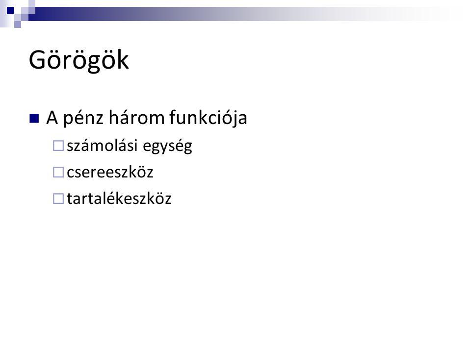 Görögök  A pénz három funkciója  számolási egység  csereeszköz  tartalékeszköz