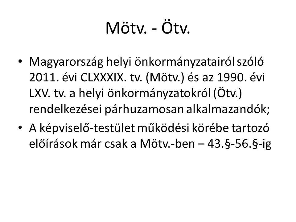 Mötv.- Ötv. • Magyarország helyi önkormányzatairól szóló 2011.