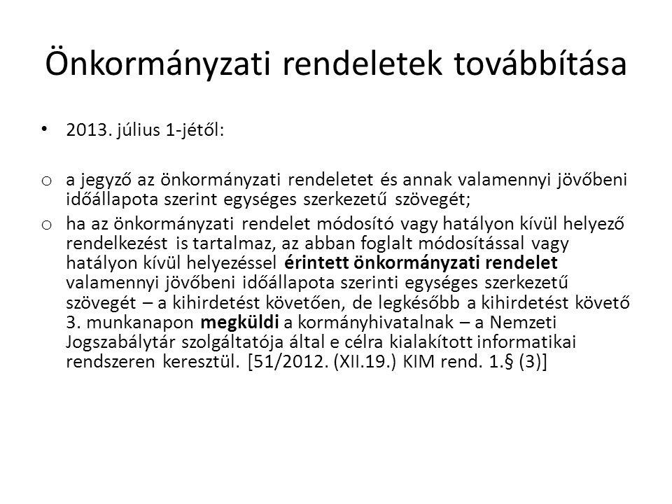 Önkormányzati rendeletek továbbítása • 2013.