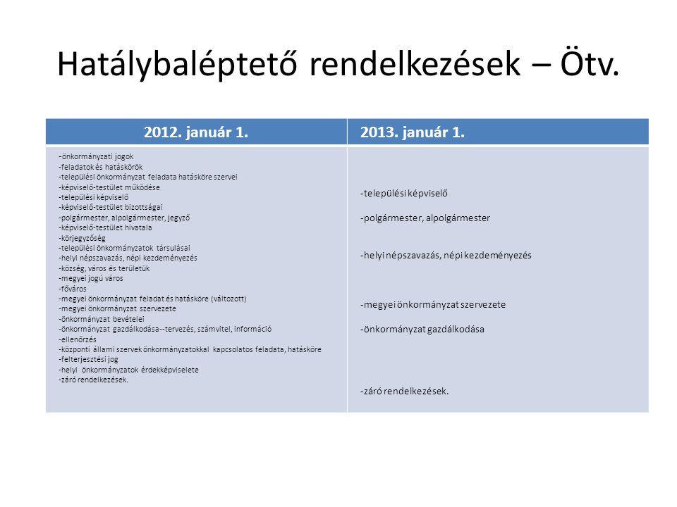 Hatálybaléptető rendelkezések – Ötv.2012. január 1.2013.