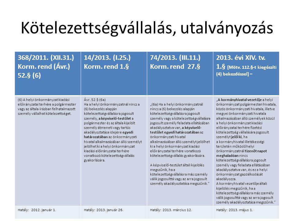 Kötelezettségvállalás, utalványozás 368/2011.(XII.31.) Korm.