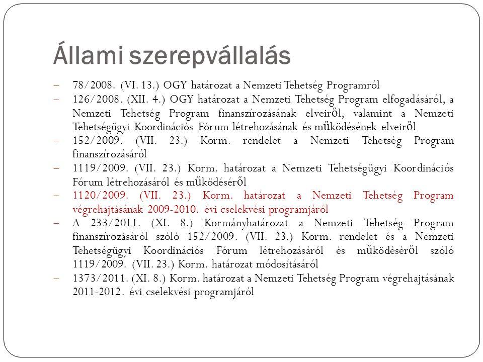 Állami szerepvállalás  78/2008. (VI. 13.) OGY határozat a Nemzeti Tehetség Programról  126/2008. (XII. 4.) OGY határozat a Nemzeti Tehetség Program