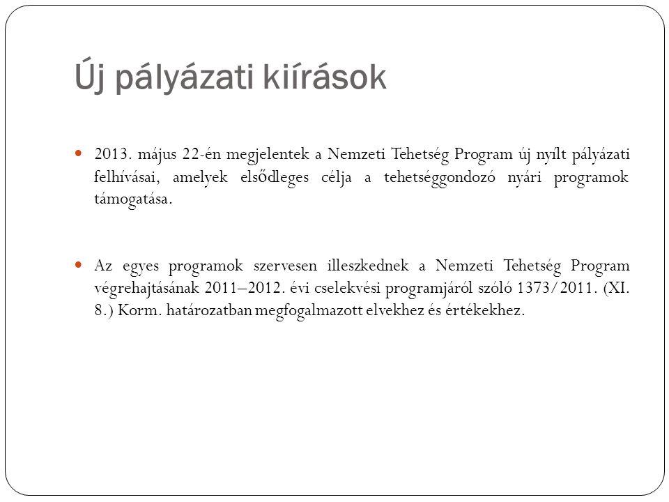 Új pályázati kiírások  2013. május 22-én megjelentek a Nemzeti Tehetség Program új nyílt pályázati felhívásai, amelyek els ő dleges célja a tehetségg