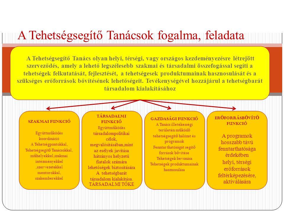 A Tehetségsegítő Tanácsok fogalma, feladata A Tehetségsegítő Tanács olyan helyi, térségi, vagy országos kezdeményezésre létrejött szerveződés, amely a