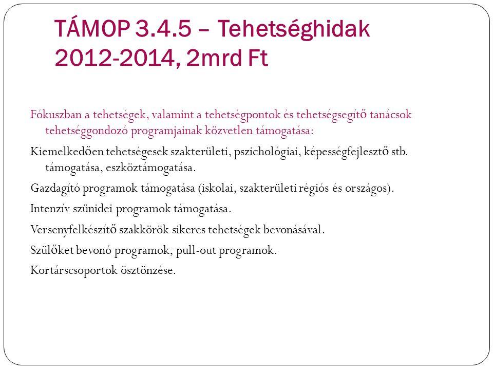TÁMOP 3.4.5 – Tehetséghidak 2012-2014, 2mrd Ft Fókuszban a tehetségek, valamint a tehetségpontok és tehetségsegít ő tanácsok tehetséggondozó programja