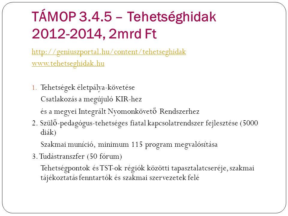 TÁMOP 3.4.5 – Tehetséghidak 2012-2014, 2mrd Ft http://geniuszportal.hu/content/tehetseghidak www.tehetseghidak.hu 1. Tehetségek életpálya-követése Csa