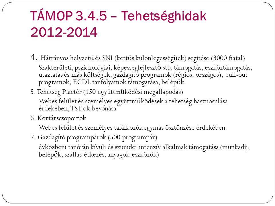 TÁMOP 3.4.5 – Tehetséghidak 2012-2014 4. Hátrányos helyzet ű és SNI (kett ő s különlegesség ű ek) segítése (3000 fiatal) Szakterületi, pszichológiai,